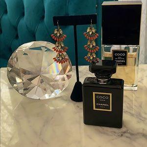 Stella & Dot earrings orange gold chandelier